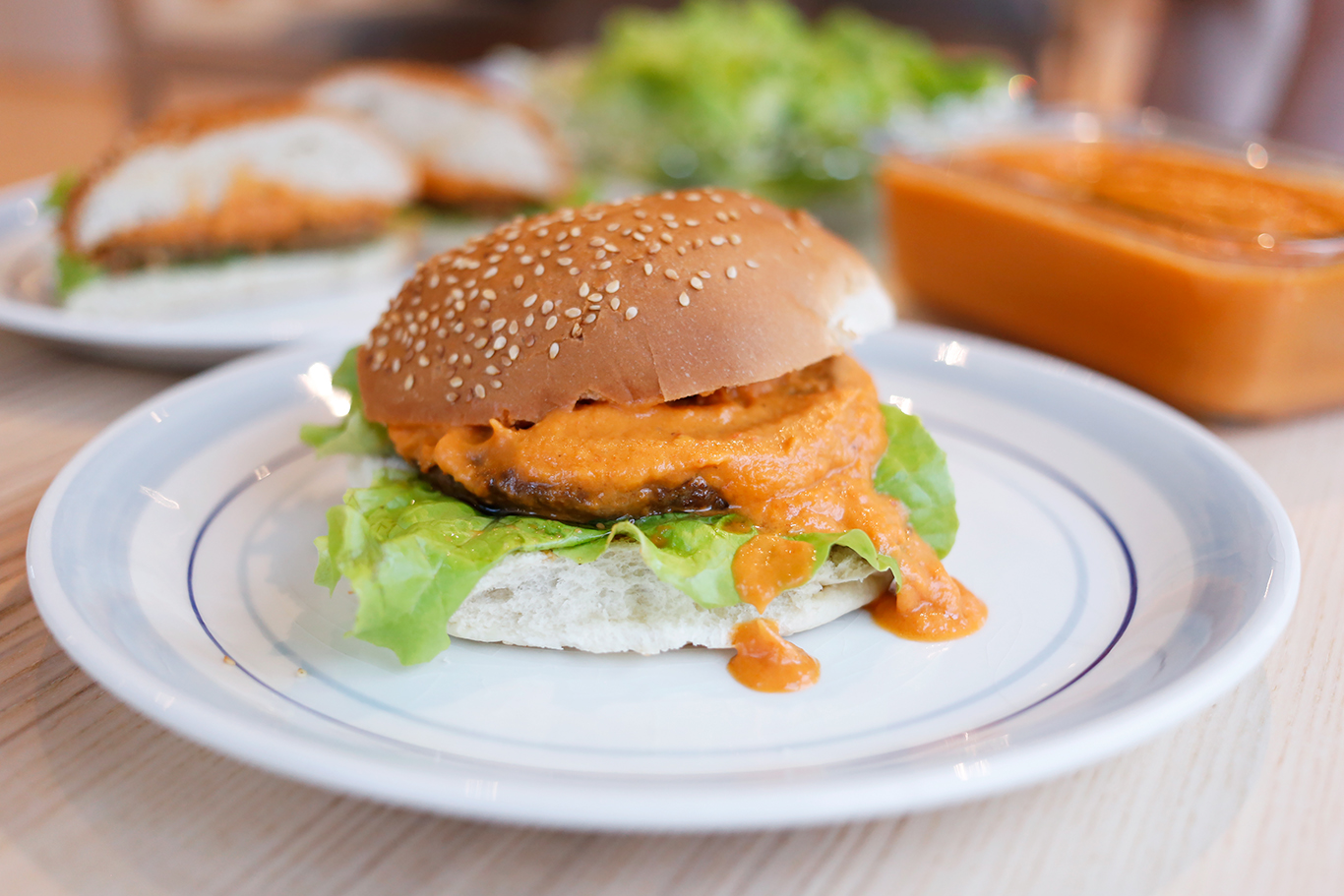 Vegetarburger med ajvar