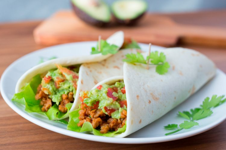 Vegetarian taco wraps with Gardein and guacamole