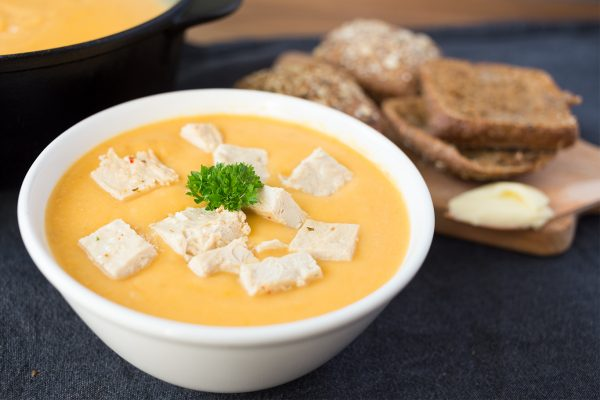 Høstsuppe med Chick'n scallopini