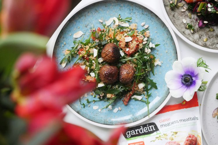 Meatless Meatballs with couscous, bulgur, and arugula