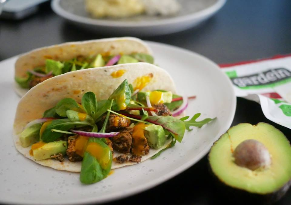 Mango coconut tacos with Chick'n Scallopini